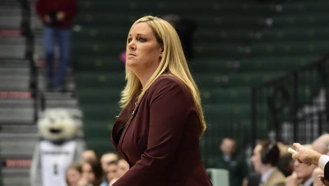 Binghamton University coach Linda Cimino watches her team play against Vermont during a women's basketball game in the Events Center on Jan. 10.