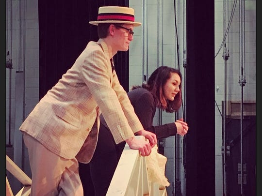 "Devin Hay and Sabrina Roberts portray the characters Harold Hill and Marian Paroo in Stissing Mountain High School's ""Music Man."""