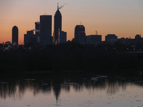 The Indianapolis skyline, about a half hour before sunrise, Indianapolis, Thursday, March 13, 2014.