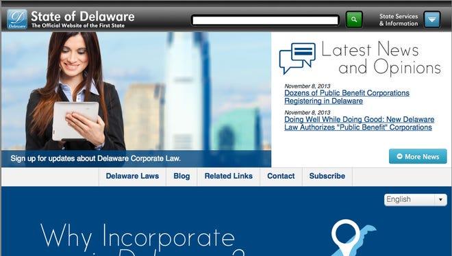 Corplaw.delaware.gov website