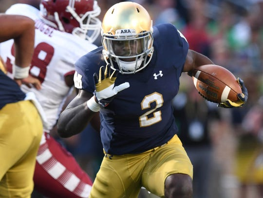 Notre Dame Fighting Irish running back Dexter Williams