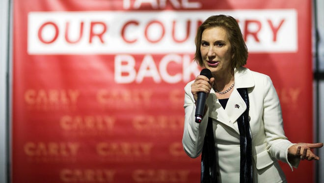 Carly Fiorina speaks during a campaign event in Londonderry, N.H., on Feb. 3, 2016.