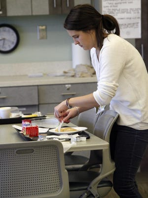 Alissa Hagan, an eating disorder nutritionist, preparing breakfast at Overlook Medical Center, which has expanded its Adolescent Eating Disorders Center to treat 8- to 12-year-old boys and girls.