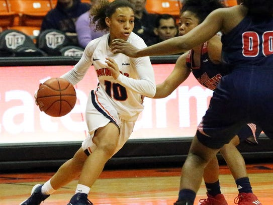 UTEP guard Faith Cook, 10, moves the ball around the
