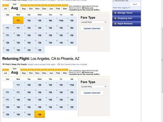 Southwest flexible dates