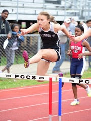 Plymouth's Aleah Rogalski competes in the 100 hurdles Friday.