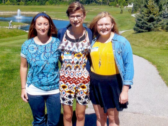 Manitowoc County Retired Educators recently gave scholarships to the Wisconsin Association of School Councils-sponsored Leadership Camp. Pictured, from left, are Valders school counselor Tara Bruckner, Valders winner Emma Olig and Georgia Zutz, of Valders. Not pictured is Peter Conrad, of Mishicot Middle School.