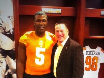 Haywood defensive lineman Emmit Gooden posed with Tennessee head coach Butch Jones during a visit to campus last year.