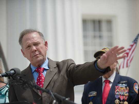 Roy Moore announces his Alabama Junior Senate race candidacy on April 26, 2017, in Montgomery, Ala. Moore, who was the suspended Chief Justice of the Alabama Supreme Court, said he filed paperwork to resign that position.