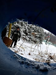Snow Maker Jon Sprenkle monitors snow making machines
