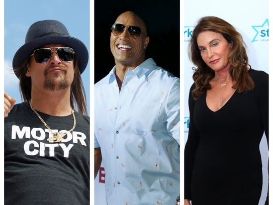 Kid Rock, Dwayne Johnson and Caitlyn Jenner have all