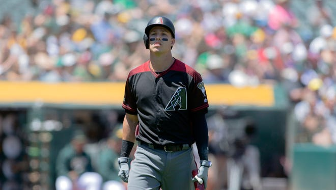 May 27, 2018: Arizona Diamondbacks third baseman Jake Lamb (22) reacts after striking out  during the fourth inning against the Oakland Athletics at Oakland Coliseum.