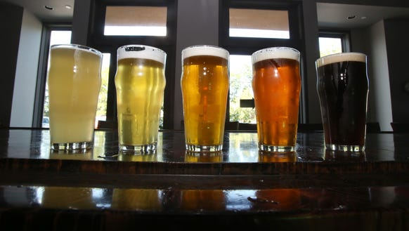 A variety of beers in the tasting room at the Peekskill