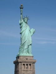 A close look at the Statue of Liberty shows that its