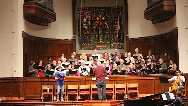 The Red River Chorale rehearses at Emmanuel Baptist Church in Alexandria Monday evening for a Saturday concert.