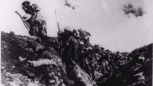 British troops go over the top during trench warfare at an unknown battlefield in Europe during World War I. The first world war was triggered June 28, 1914 when Archduke Franz Ferdinand of Austria and his wife were assassinated in Sarajevo, Bosnia, setting off a chain of events that would lead to more than nine million people dead -- many of them in the trenches -- before Armistice Day, Nov. 11,1918.