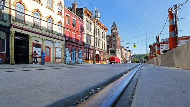 This July 11 photo shows how the streetcar track will make its way up Elm Street at Findlay Market.