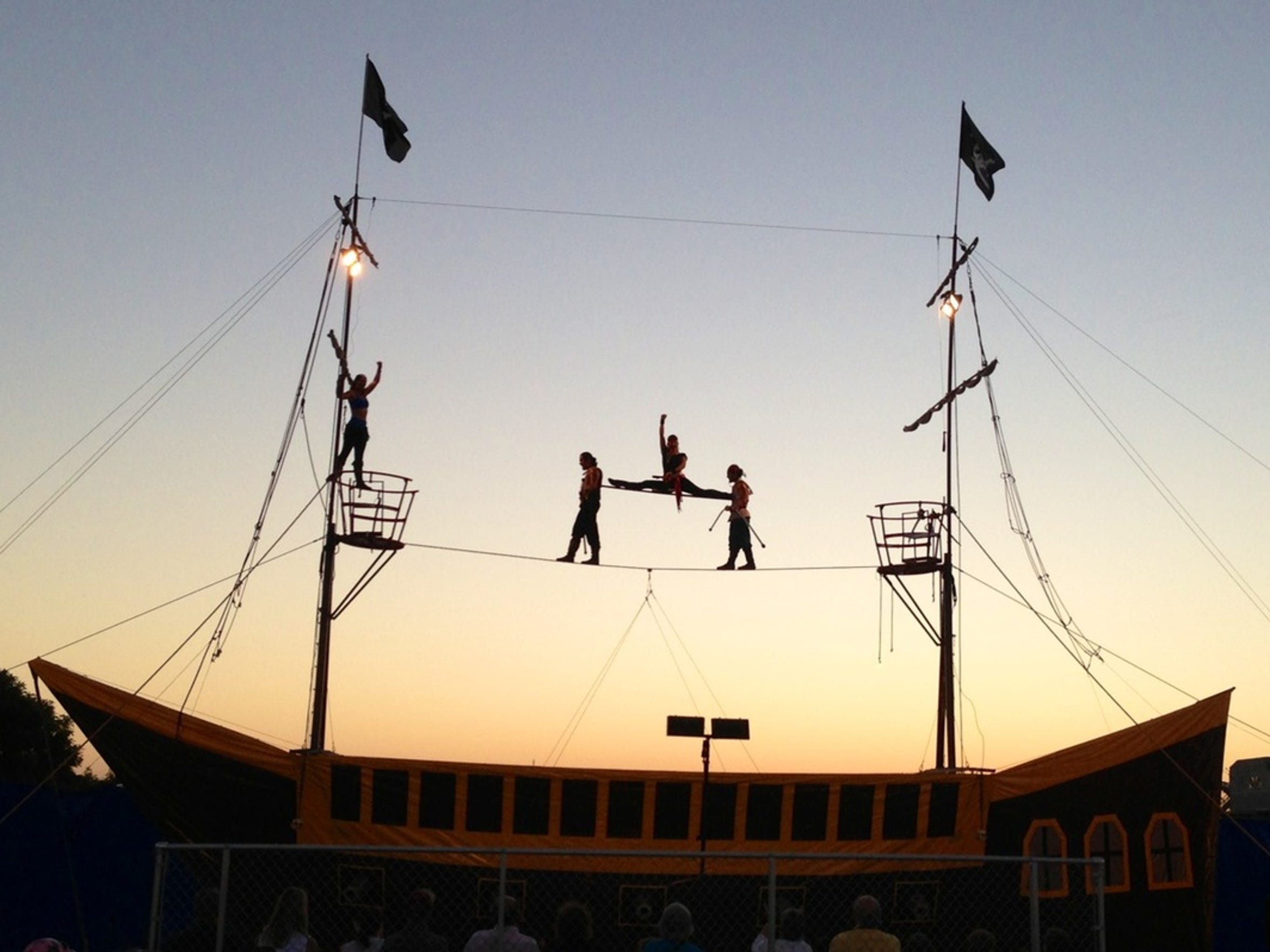 Attractions at the Southern New Mexico State Fair include Pirates of the Columbia Caribbean Aerial High Wire Thrill Show.
