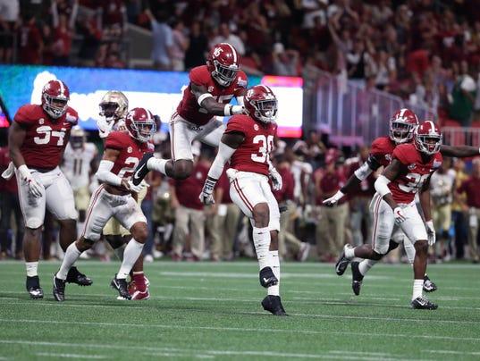 Florida state alabama showdown pays off for college football 2017 9 2 bama wins the alabama florida state voltagebd Choice Image