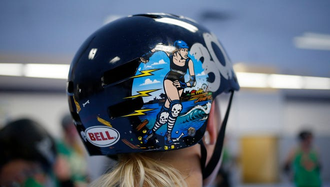 Detail of the logo on the helmet of a member of the Organic Panic team, at a Monday, Jan. 30, 2017 practice at the Santa Cruz Derby Girls facility in Santa Cruz, Calif. (Josie Lepe/Bay Area News Group/TNS)