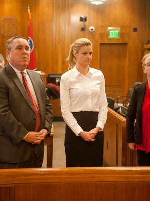 Erin Andrews waits for the jury to arrive in her civil case in Nashville on the third day of trial Wednesday.