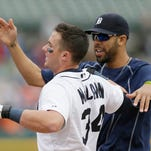 Detroit Tigers' James McCann is congratulated by pitcher David Price after his walk-off home run during the 11th inning of a baseball game against the Houston Astros Thursday.