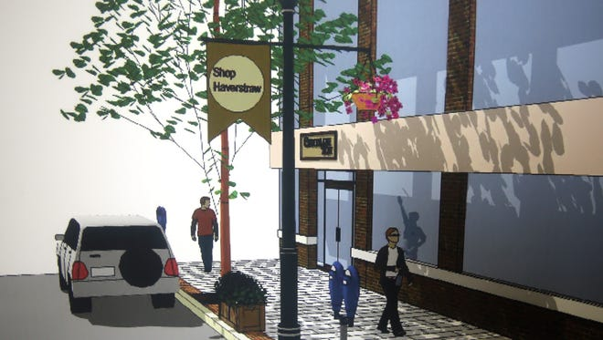 A rendering shows some of the streetscape improvements planned for downtown Haverstraw. The improvements include new sidewalks, new road surfaces, new lighting, plantings, and signage.