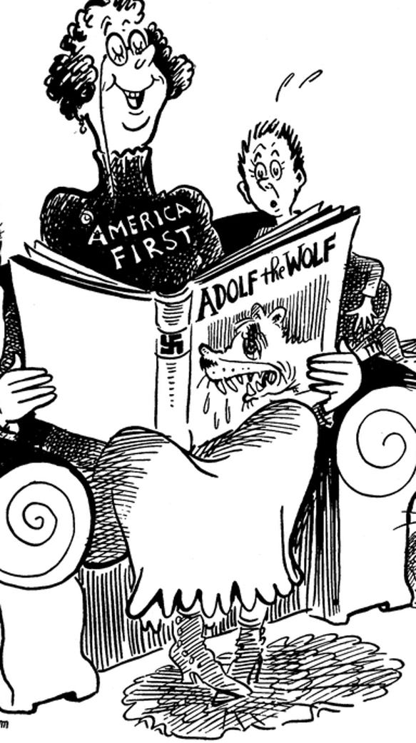An editorial cartoon published in the newspaper 'PM'