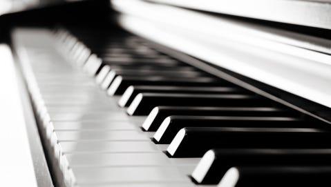 Black piano close up