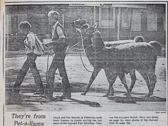 Newspaper article showing Pat and Chuck Warner with