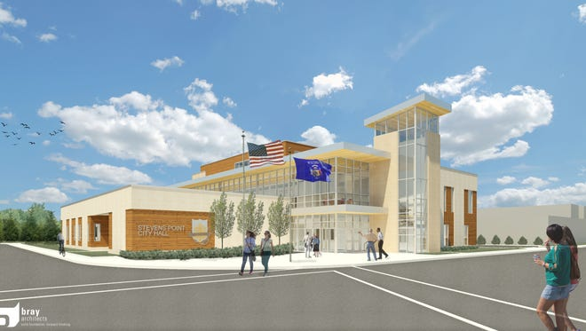 An architectural rendering viewed from the southeast of a possible new Stevens Point City Hall on Water Street and Arlington Place.