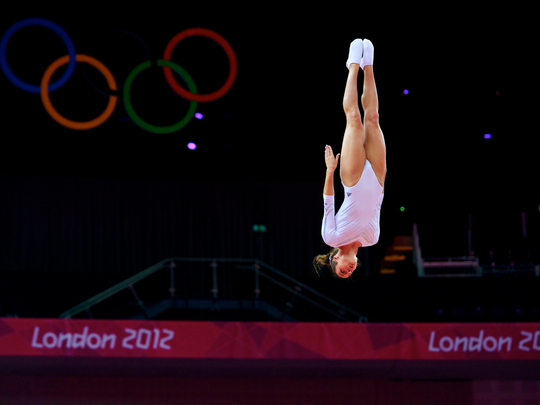 Savannah Vinsant Thompson preforms her trampoline routine during the 2012 Olympic games in London.