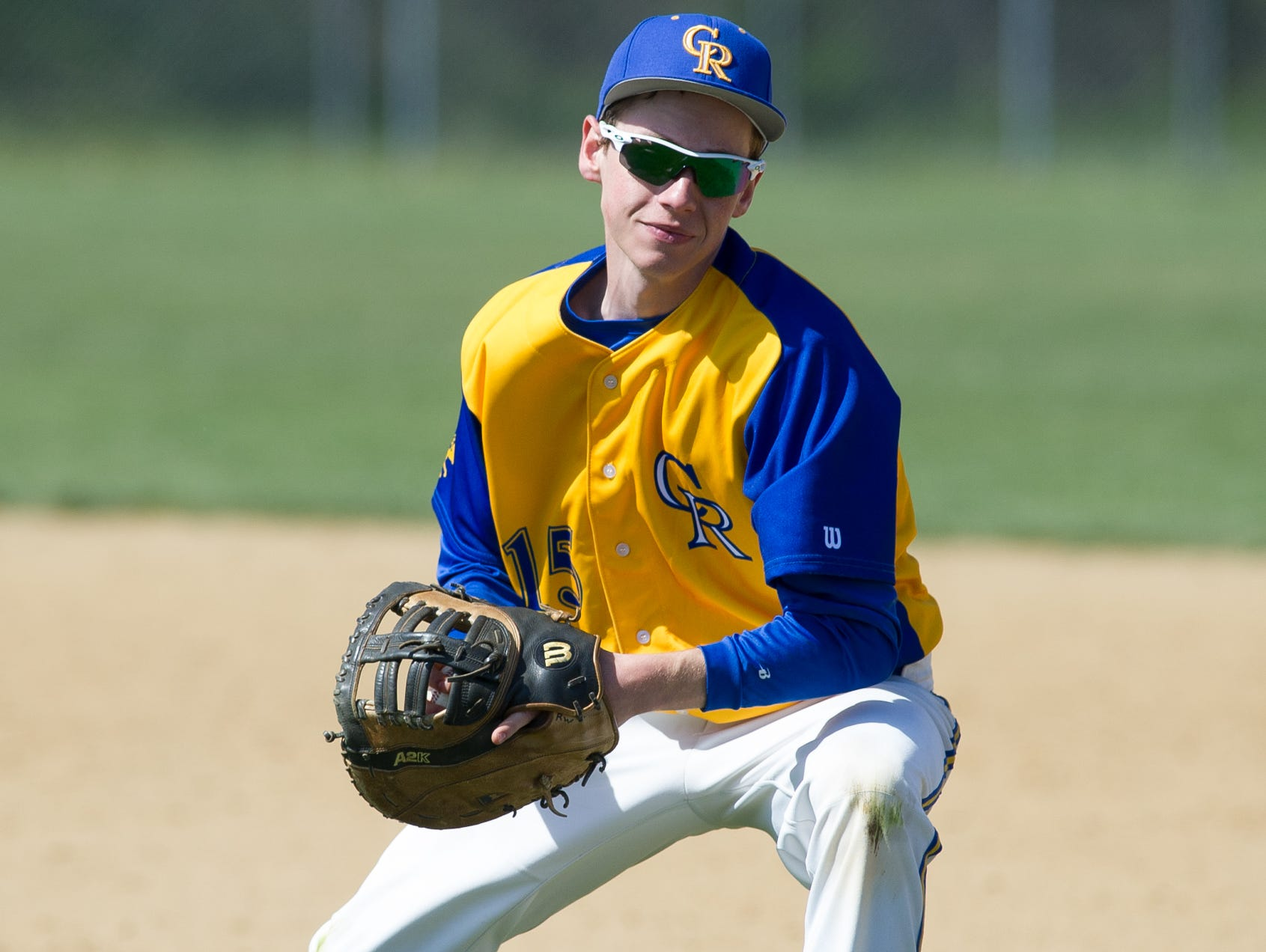 Caesar Rodney's Robert Williams (15) runs to first base to make a out in the 4th inning against St. Marks.