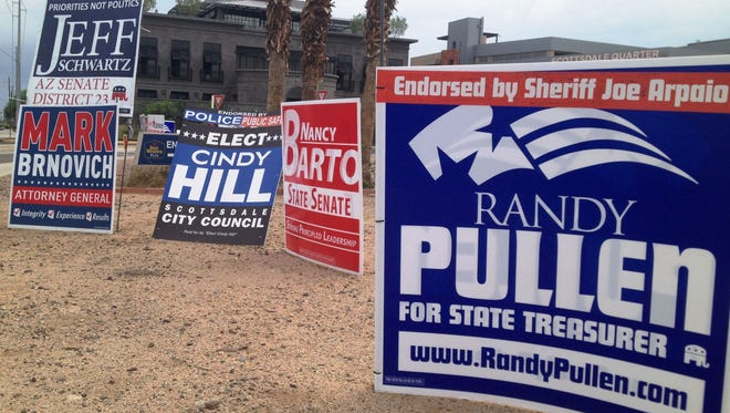 Campaign signs in Scottsdale.