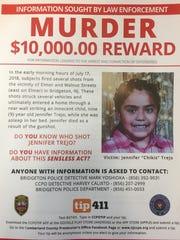 A flier announces a $10,000 reward for information