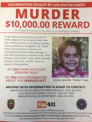 "A flier announces a $10,000 reward for information in the shooting death of 9-year-old Jennifer ""Chikis"" Trejo in Bridgeton."
