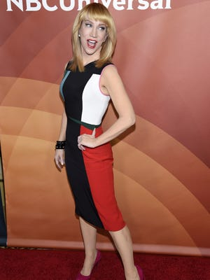 In this Thursday, Jan. 15, 2015, file photo, Kathy Griffin poses at the NBCUniversal Cable 2015 Winter TCA Press Tour at The Langham Huntington Hotel, in Pasadena, California.. Griffin is releasing her newest book on Nov. 22.