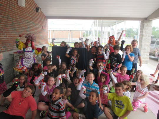 Puppet Building workshop on Bullying for 80 Students at Crawfordville Elementary School.