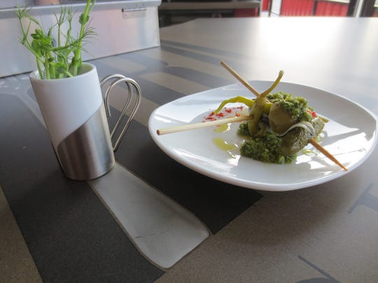 Gazpacho, left, and banderillas are two of the pintxos on the list,