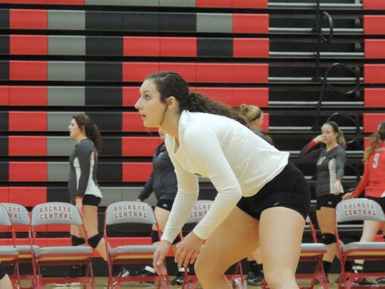 South Central libero Hannah Vogel looks to return the
