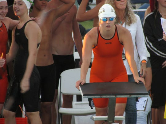 Tori Bindi gets set to compete in 100 freestyle event
