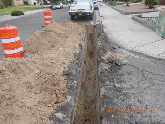 The trenching necessary to complete the upgrade for the new gas lines is 18 inches wide, requiring only an asphalt patch to cover the work.