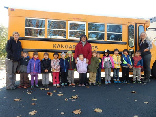 Kangaroo Kids children learned about the importance of proper behavior and how to safely get on and off a bus with Assistant Director Shaun Pidany.  Bus safety is important as shorter daylight hours can create more hazards.   Parents should make sure children have a safe place to wait for their bus, away from traffic and instruct their children to stay away from the bus until it comes to a complete stop and the driver signals you to enter.