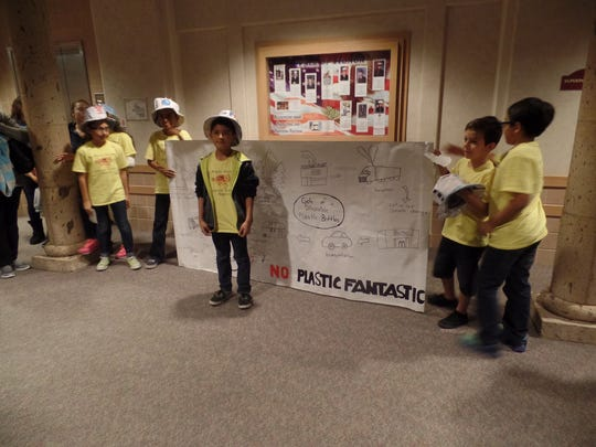 Abraham Lincoln Elementary school students present their robotics projects at a recent Front and Center at the district office.