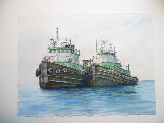"""""""Selvick Tugs"""" by Kerry Vavra, part of the """"Right Off the Wall"""" exhibit through Jan. 9 at Meadows Art Gallery in Sister Bay."""