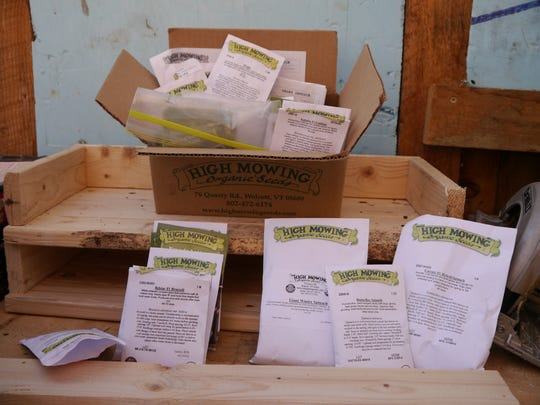 Seed packets from High Mowing Organic Seeds in Wolcott.