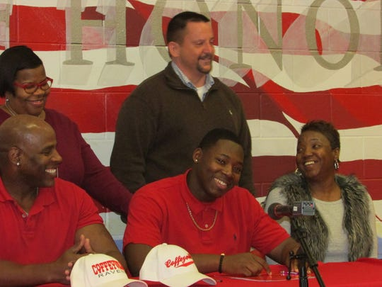 West Florida's Ricky Richardson signed with Coffeyville Community College on Wednesday.