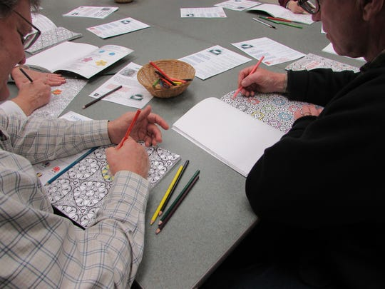 A relaxing atmosphere with soothing background music and hot chocolate was provided at SCLSNJ's Warren Township Library branch during a recent Coloring for Adults program.