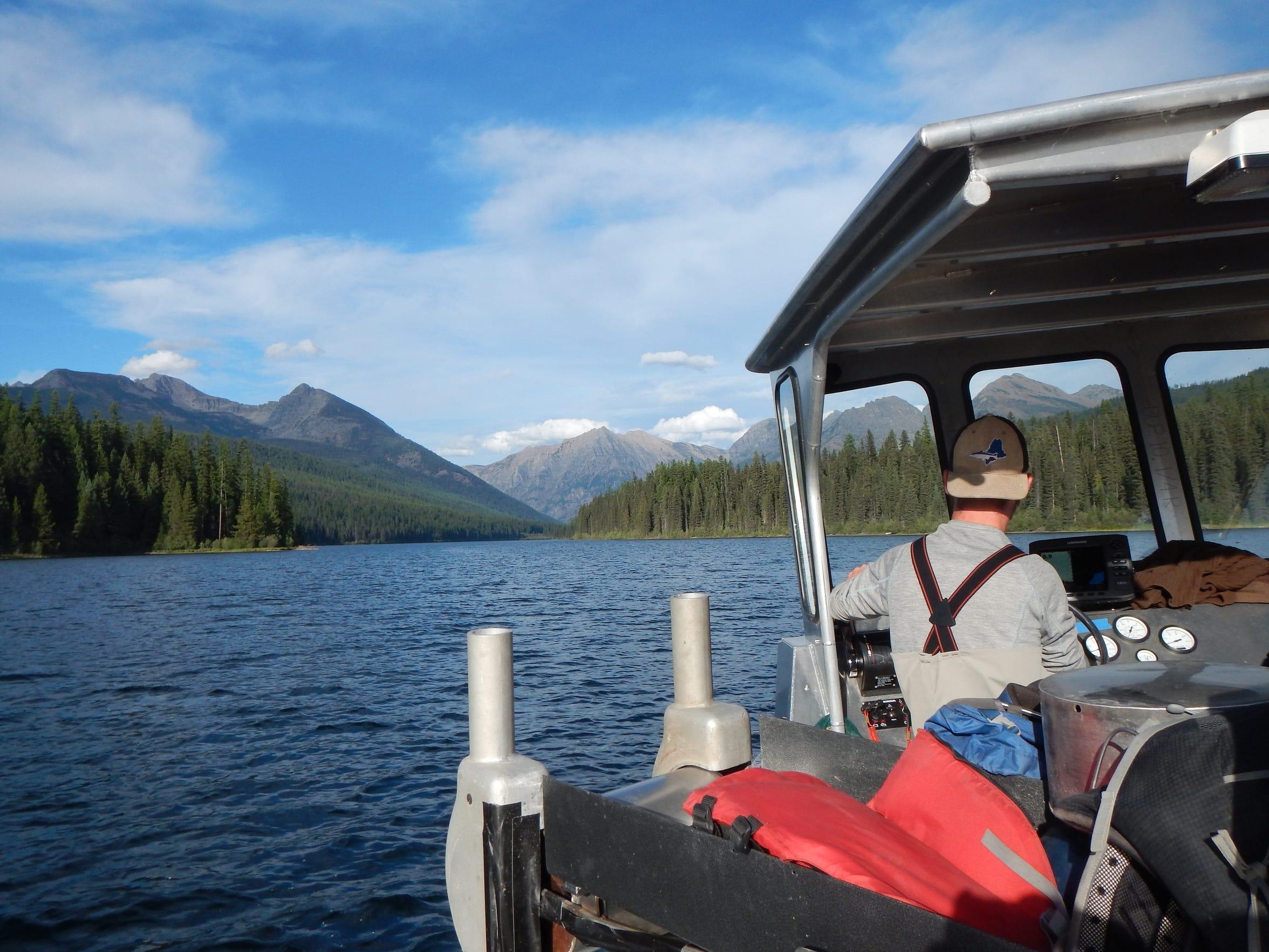 U.S. Geological Survey biologist Andrew Lamont navigates