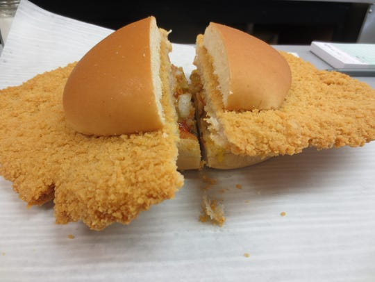 The breaded pork tenderloin at Smitty's is pounded
